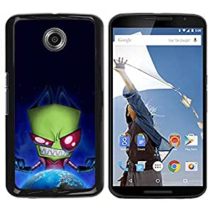 Paccase / SLIM PC / Aliminium Casa Carcasa Funda Case Cover para - Green Monster Evil Ufo Alien Villain Earth Planet - Motorola NEXUS 6 / X / Moto X Pro