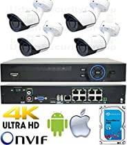 USG Business Grade 2MP 1080P 4 Camera HD Security System : 1x 5MP 8 Channel H.265 Ultra 4K Security NVR + 4x 2.8mm H.264 PoE IP Bullet Cameras with Deep Base + 1x 4TB HDD : Apple Android Phone App