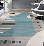 Rugshop Contemporary Geotmetric Circles Pattern Area Rug 5' 3