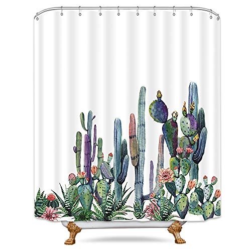 (Riyidecor Desert Cactus Shower Curtain Panel Tropical Succulent Plants Cacti Petal Flower Green Floral White Decorative Fabric Set Polyester Waterproof Fabric 72x84 Inch 12 Pack Plastic Hooks)