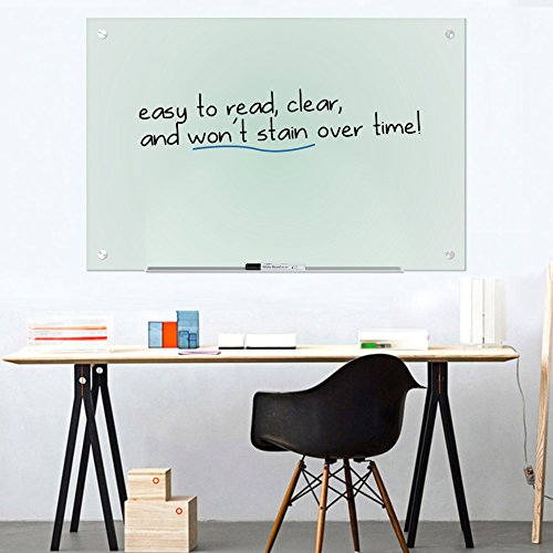 """Magnetic Glass Dry Erase Board Whiteboard 35 x 47"""" Large Clear Frameless Infinity Frosted Surface Aluminum Tray Bonus Eraser 4 Markers 6 Magnets Home School Office Classroom Supplies (35 x 47 inch) by Dapper Display (Image #1)"""