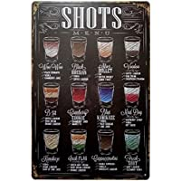 ERLOOD Shots Menu Retro Vintage Bar Metal Tin Sign Poster...