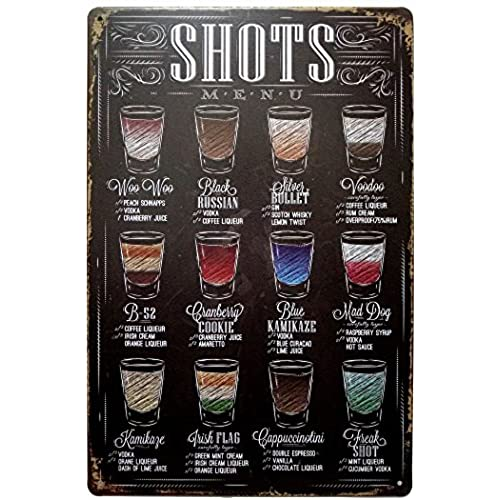 Bon ERLOOD Shots Menu Retro Vintage Bar Metal Tin Sign Poster Ptyle Wall Art  Pub Bar Decor 12 X 8