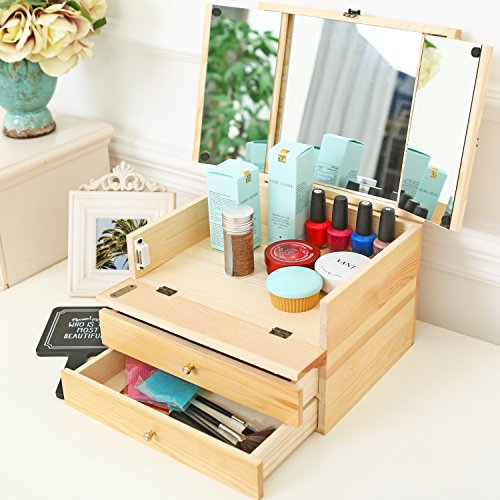 Jewelry Cosmetics Organizer Lift Top Compartment