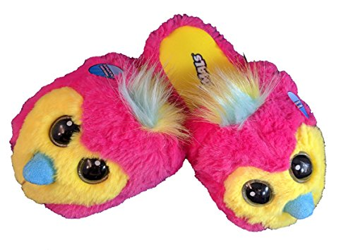 Hatchimals Girls Slipper With Light Up Eyes (XL (4-5), Pink and Yellow) (Game Slipper)