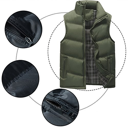 Men's Green Stand Jacket Down Collar Puffer Waterproof Windproof Zipper Winter BOZEVON Vest Down Outwear Coat Sleeveless CcqF7dW