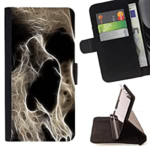DEVIL CASE - FOR Samsung Galaxy A3 - Skeleton Skull Art Death Head Anatomy - Style PU Leather Case Wallet Flip Stand Flap Closure Cover