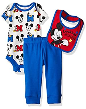 Baby Boys' 3 Pack Mickey Mouse Bodysuit, Pant, and Bib Set
