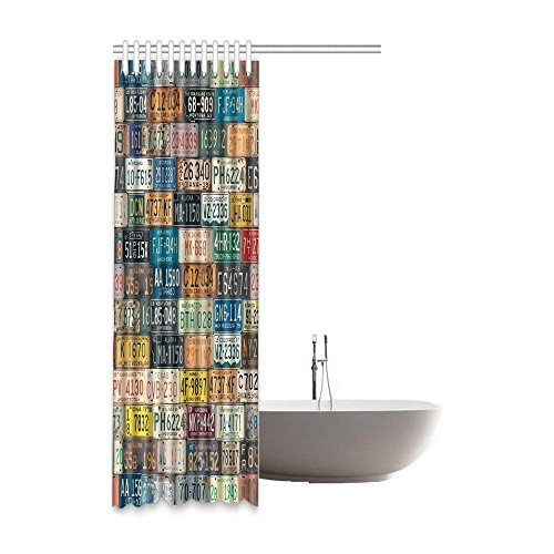 Wesbe Shower Curtains License Plate Bathroom With Digital Printing Waterproof Polyester Fabric 60