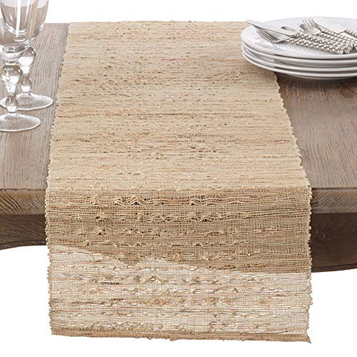 Melaya Woven Nubby Rectangular Table Runner, 100% Ramie, 14