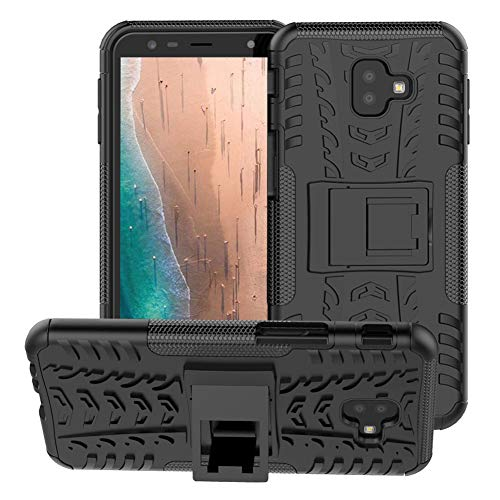 Galaxy J4 Plus Case,Galaxy J6 Plus Case,PUSHIMEI with Kickstand Hard PC Back Cover Soft TPU Dual Layer Protection Phone Case Cover for Samsung Galaxy J4 Prime/J4 Core/J6 Prime(Black Kickstand case)