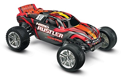 Traxxas Nitro Rustler: 2WD Stadium Truck with TQi 2.4 GHz Radio & TSM (1/10 Scale), Silver/Red (Rtr Rustler Traxxas Nitro)
