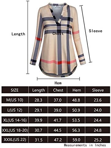 SeSe Code Womens 3/4 Roll Sleeve Shirt Notch Neck Loose Tops Plaid Tunic Blouse 7