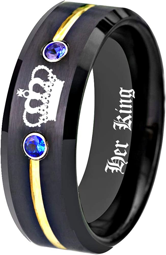 Free Custom Engraving Matching Couples Her King and His Queen Ring Set in Black Tungsten Carbide Rings With Two White CZ- His and Hers for Promise Wedding Jewelry
