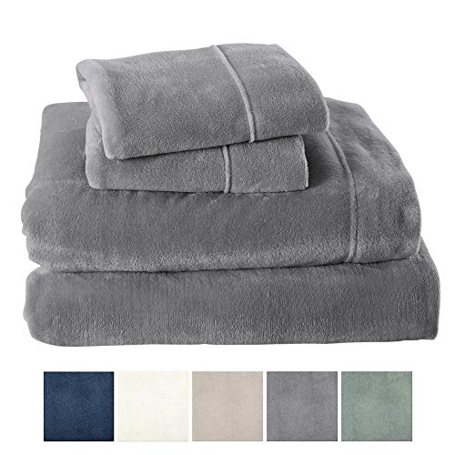 Extra Soft Cozy Velvet Plush Sheet Set. Deluxe Bed Sheets with Deep Pockets. Velvet Luxe Collection (Twin, Grey)