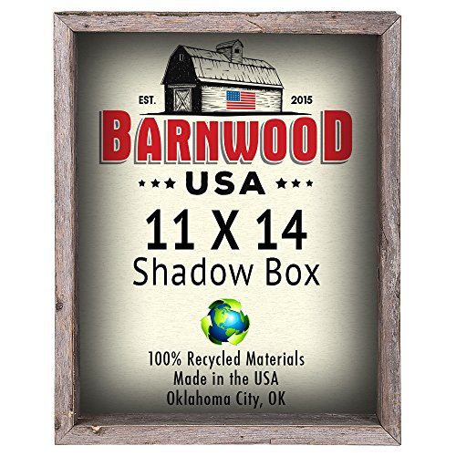 BarnwoodUSA Rustic 11 by 14 Inch Picture Frames, Collectible Shadow Box - 100% Reclaimed Wood, Weathered Gray Deep Shadow Box