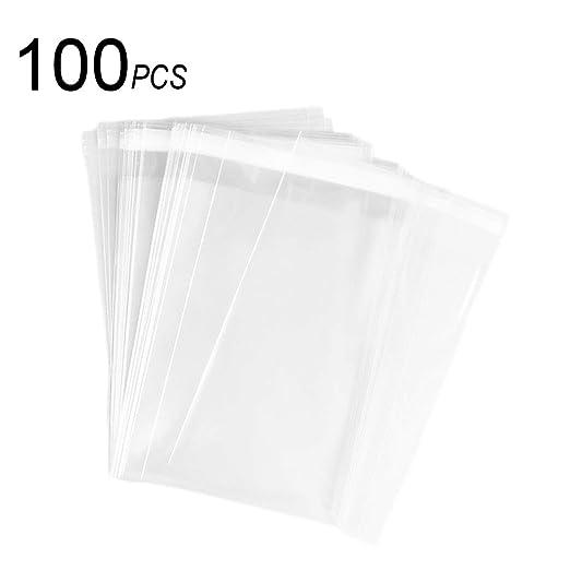 Paquete de 100 bolsas de celofán transparente resellables de ...