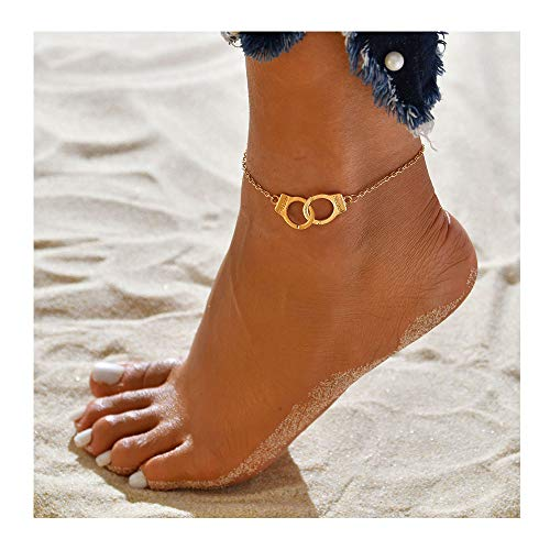 palettei Freedom Handcuffs Anklet Charm Fashion Jewelry Women Size Adjustable (Gold)