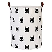 Dirty Clothes Laundry Storage Basket for Bedroom Bathroom Kids Linen Cotton White and Batman 15.7 x15.7 x19.7