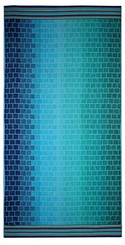 - Cotton Craft - Oversized Jacquard Woven Velour Beach Towel 39x68 - Blue Tile - Thick Plush Luxurious Velour Pile - 450 GSM - 100% Pure Ringspun Cotton - Brilliant Intense Vibrant Colors