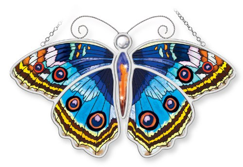 Amia Blue Pansy Butterfly Hand Painted Glass Suncatcher, 10-1/2-Inch ()