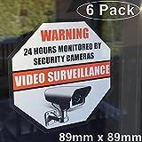 **Front Self Adhesive Vinyl** Outdoor/Indoor (6 Pack) 89mm X 89mm Home Business Security DVR CCTV Camera Video Surveillance System Window Door Warning Alert Sticker Decals