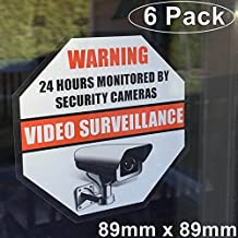 **Front Self Adhesive Vinyl** Outdoor/Indoor (6 Pack) 89mm X 89mm Home Business Security DVR CCTV Camera Video Surveillance System Window Door Warning Alert Sticker Decals