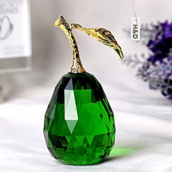 H&D Crystal Glass Pear Paperweight Fengshui Craft Decoration Ornaments with Gift Box (Green)