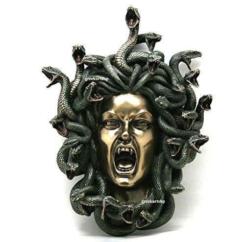 Veronese Medusa Head of Snakes Gothic Wall Plaque Décor Statue Bronze Finish 14.57""