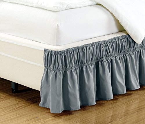 Read About Wrap Around 15 inch fall DARK GREY Ruffled Elastic Solid Bed Skirt Fits All QUEEN, KING ...