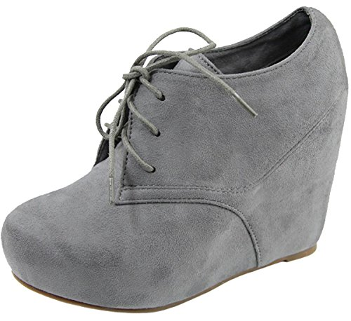 Hidden Wedge Boot - Anna Shoes Women's Hidden Platform Wedge Heel Lace Up Ankle Bootie (10 B(M) US, Grey)