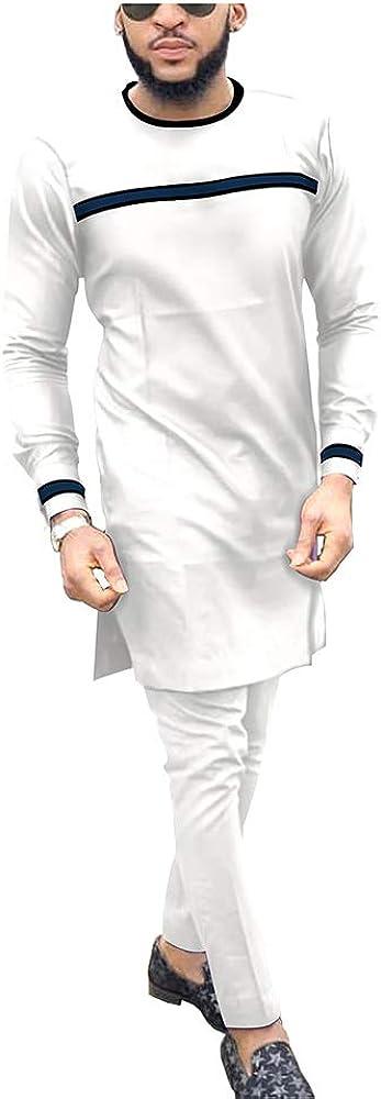 Men`s Suit African Dashiki Coats Jacket+Ankara Pants 2 Piece Set Long Sleeve Shirt Tracksuit