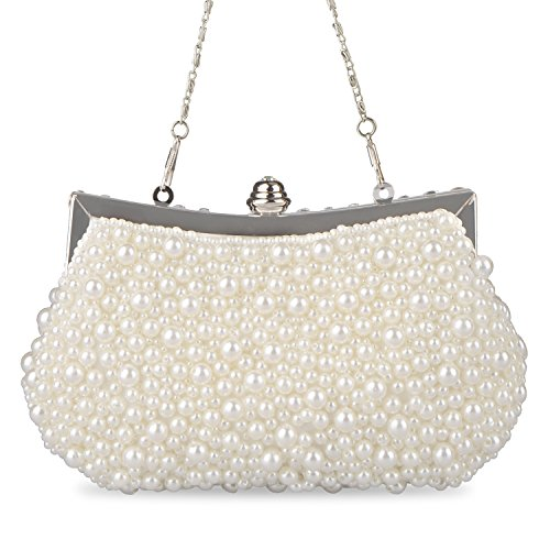 Lifewish Faux Perle Cascading Bead Strass Abend Kupplung Abend Hochzeit Clutch Handtasche