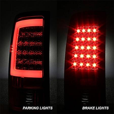 For 07-14 GMC Sierra 1500 2500 3500HD Pickup Black Bezel Smoked Lens C-Shape LED Tail Brake Light