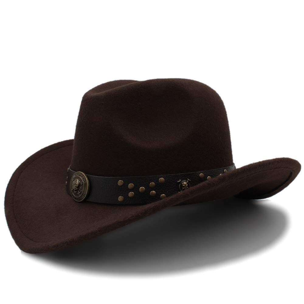 Achun Mütze Western Cowboyhut Reisekappen für Frauen Männer Caps Hüte Vintage Cowgirl Cowboys Unisex Hut Filz Jazz Cap
