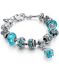 Blue Beads Carved Bracelet Sliver Plated Snake Chain Charm Strand Bracelet For Women&Men