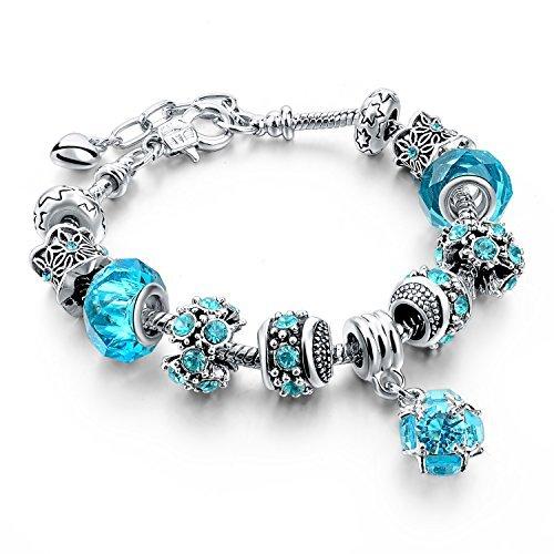 Long Way Blue Beads Carved Bracelet Sliver Plated Snake Chain Charm Strand Bracelet For Women&Men