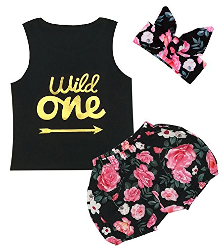 3pcs Short Set Baby Girls Floral Vest + Pants + Headband (12-18 Months, Black)