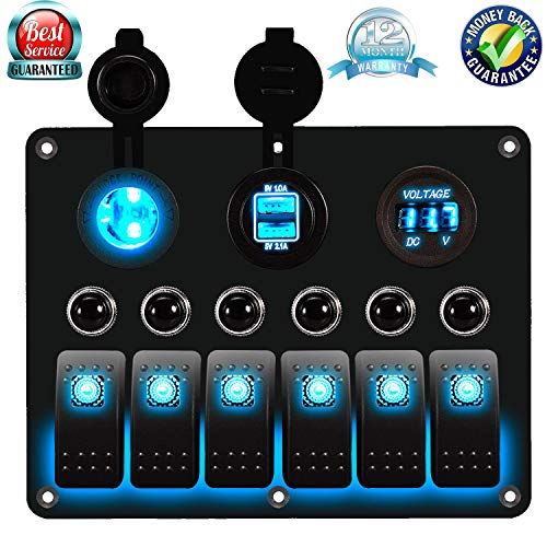 DCFlat 3 Gang / 4 Gang / 6 Gang / 8 Gang Car Marine Boat Rocker Switch Panel Dual USB Waterproof Power Socket Breaker Voltmeter Overload Protection for RV Car Boat (6)