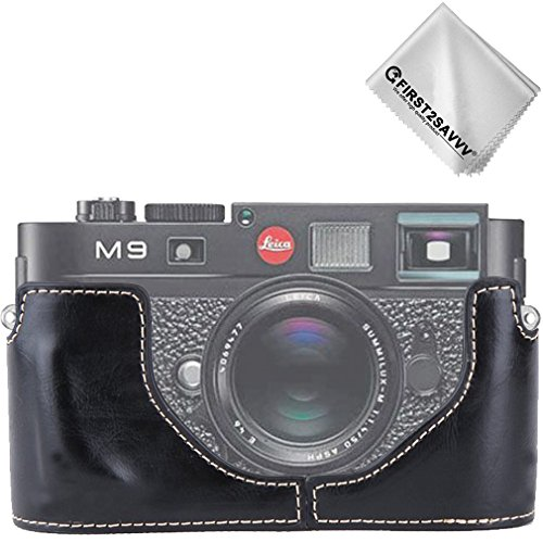 First2savvv Leather Half Camera Case Bag Cover base for Leica M9. M8.M-E + Cleaning cloth XJPT-LeicaM9-D01