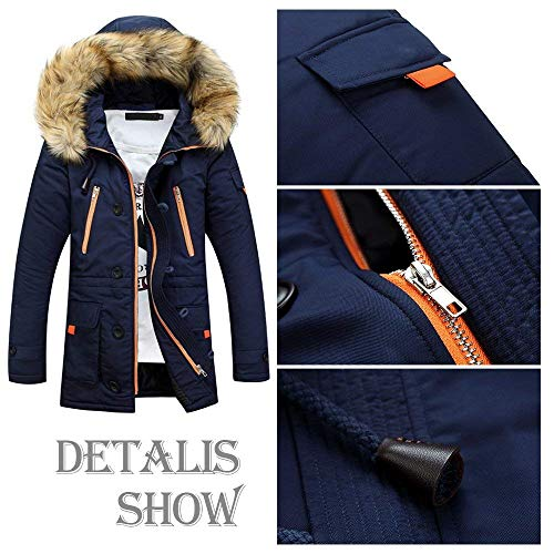 Jacket Blau Coat Fur Hooded Pilot Jacket Men Windproof Collar Outdoor Parka Apparel Jacket Hoodies Men Jacket Coat Men's Winter Jacket Autumn Winter SqI6SE1w