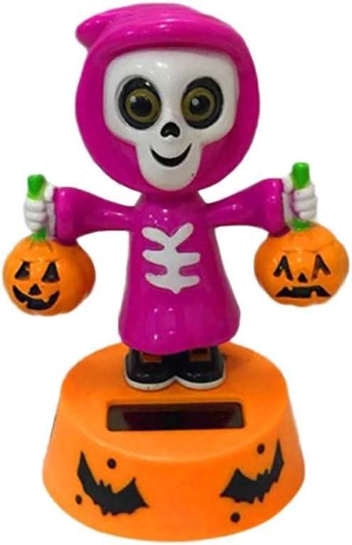 Muñeca de calabaza de Halloween con energía solar, para el interior del coche, el salpicadero, regalos de Navidad, decoración para niños