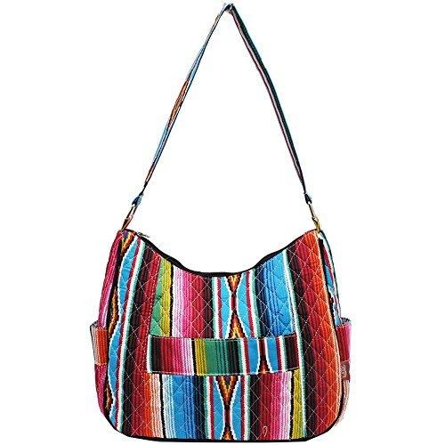 Ngil Quilted Cotton Hobo Shoulder Bag (Serape Black)