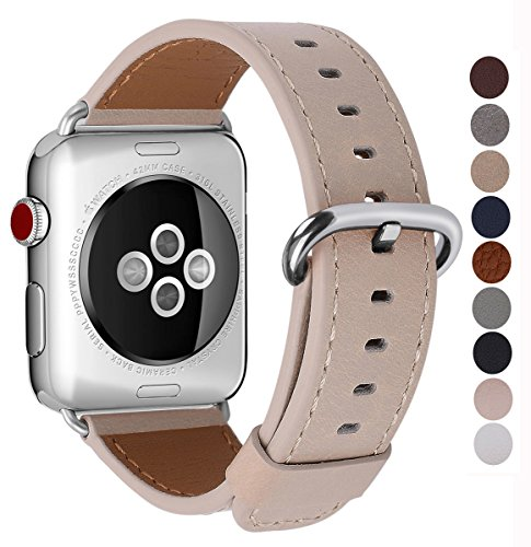 JSGJMY Apple Watch Band 38mm Women Light tan Genuine Leather Loop Replacement Iwatch Strap with Stainless Steel Clasp for Apple Watch Series 3 2 1 Sport Edition by JSGJMY