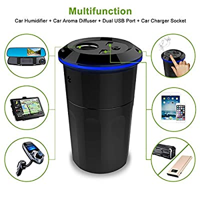 Gulaki Car Diffuser Essential Oils - Multifunction Cool Mist Car Humidifier with 2 USB Port and 1 Car Charger Socket (Black): Home & Kitchen