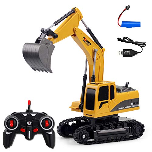 Uscyo Excavator with Remote Control, RC Excavator with 6-CH 2.4 GHz Remote Control, Suitable for Outdoor use, Shovel and Tree Gripper Made of Metal, Handy Chain Drive (Metal)