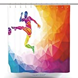 Durable Shower Curtains Creative Soccer Player Football Player Kicks The Ball Colorful Vector Illustration With 340995707 Polyester Bathroom Shower Curtain Set With Hooks