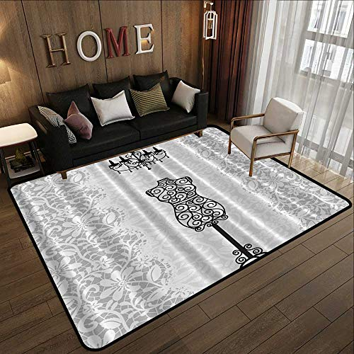 Rubber mat,Gray Female,Dress Form Mannequin Black Chandelier White Lace Home Woman Fashion Theme Item Modern Art Print,Gray Black 71