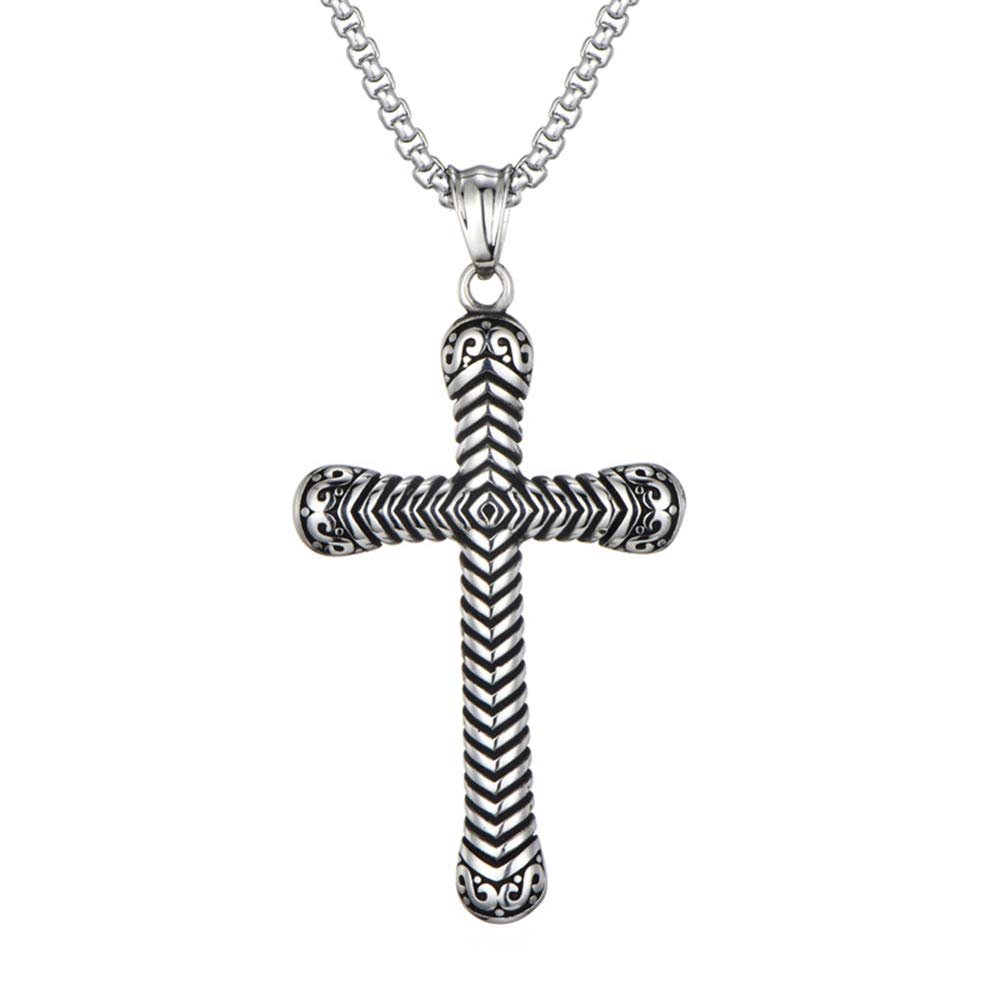 MCSAYS Hip Hop Men Jewelry Thread Religious Cross Pendant Stainless-Steel Necklace