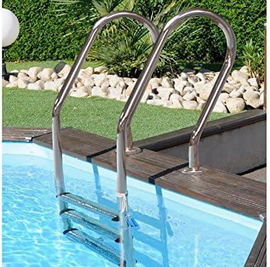 Gre 126673 - Escalera de acero inox 3 peldaños para piscinas de madera: Amazon.es: Jardín